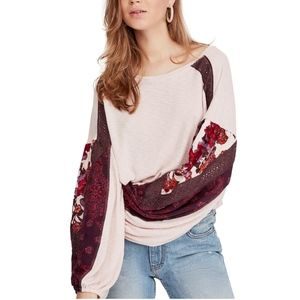 Free People Lacy embroidered Casual Clash Top